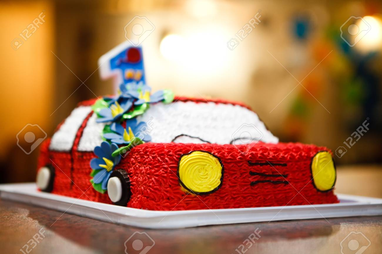 Brilliant Closeup Of The Car Birthday Cake For A One Year Child Stock Photo Birthday Cards Printable Opercafe Filternl