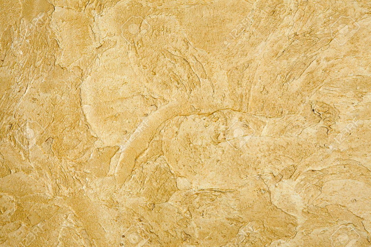 Decorative Golden Plaster Texture On The Wall - Art Brush Stroke ...