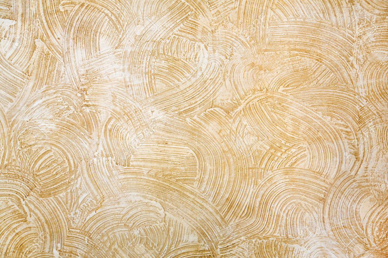 Decorative Beige Plaster Texture On The Wall - Art Brush Stroke ...