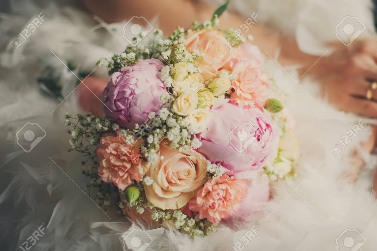 Hochzeit Pastell Bouquet Nahaufnahme Blumenstrauss Liegt Auf Dem