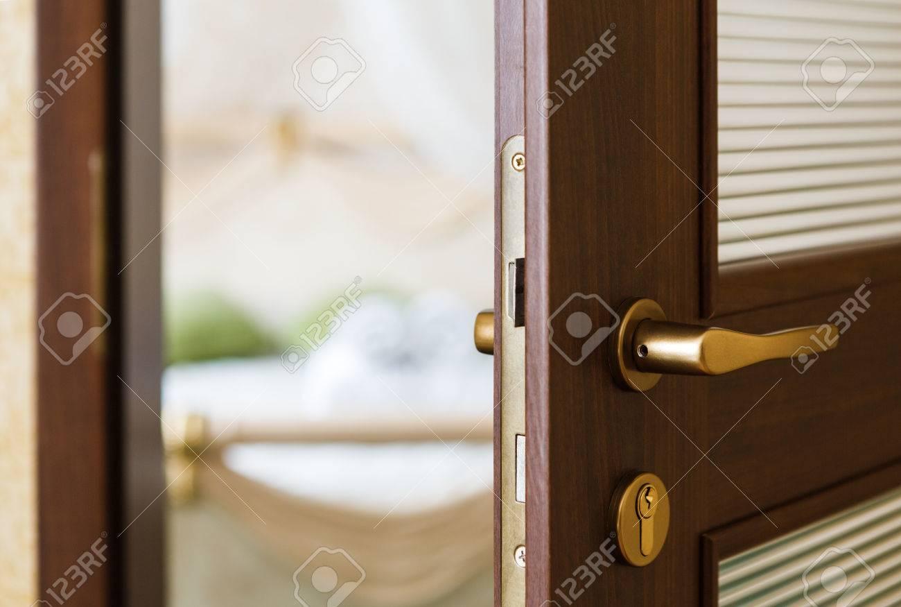 Delicieux Half Opened Door Of A Bedroom. Hotel Bedroom Door Half Open. Hotel Room  Welcome