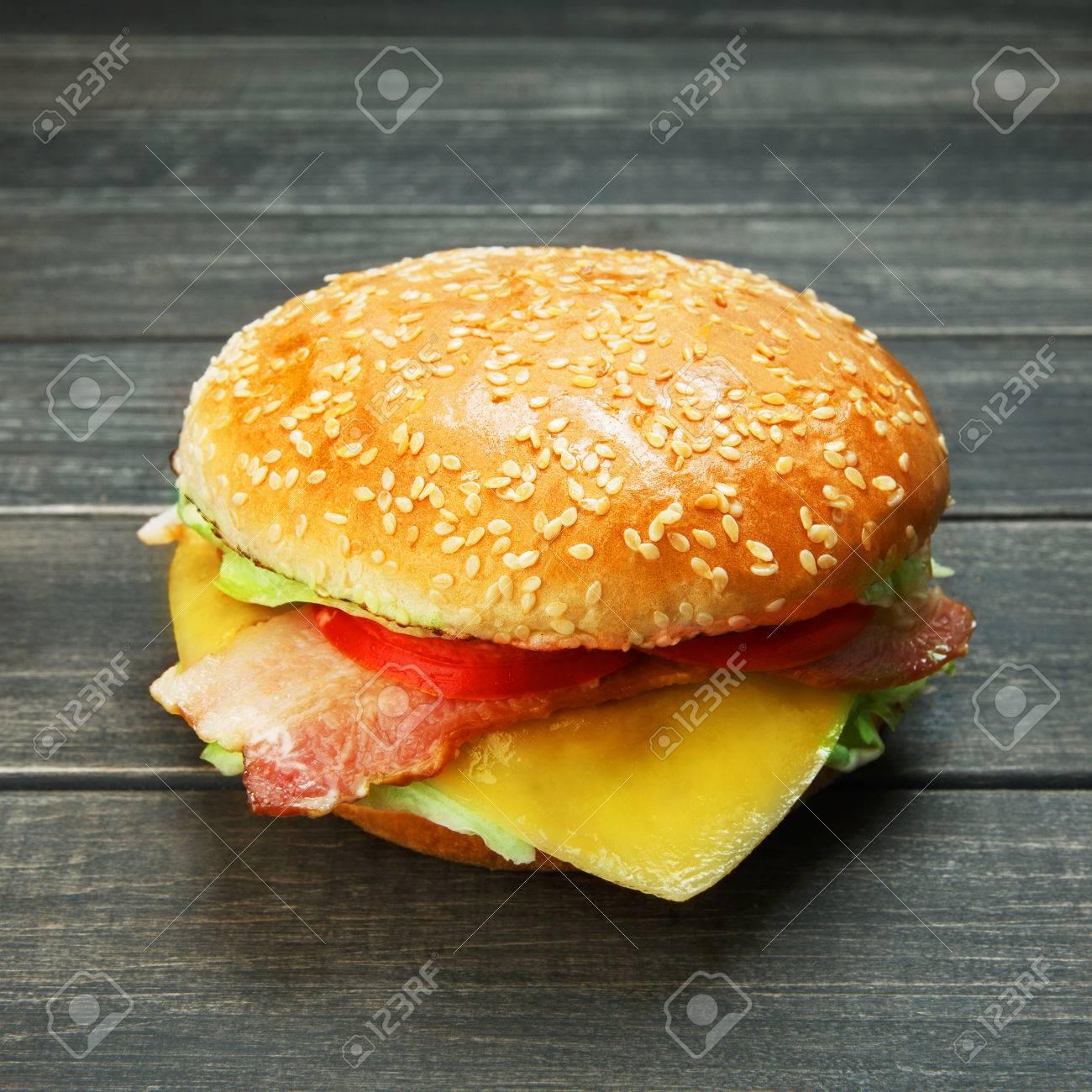 Klassische Amerikanische Burger Fast Food Big Doppel Kase Burger