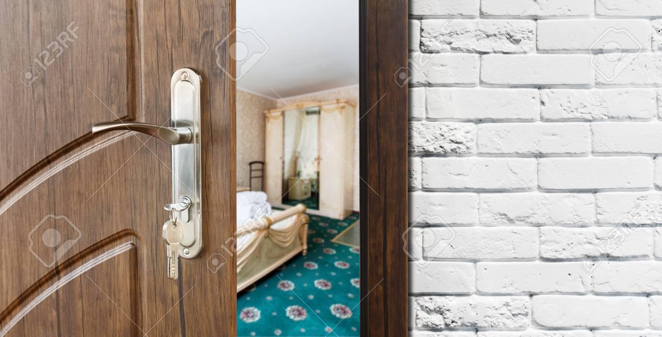 half opened door to a bedroom door handle door lock lounge door half - Bedroom Door Lock