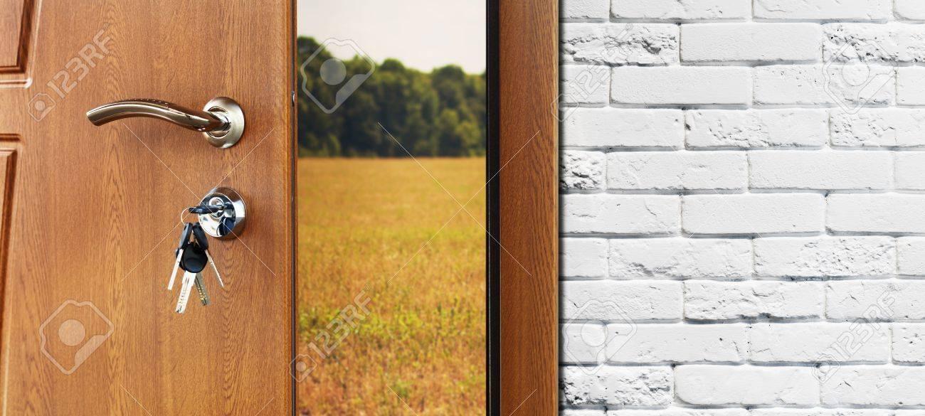 Entrance Door Half Opened To Nature Background. Door Handle, Door Lock.  Exit Outdoors