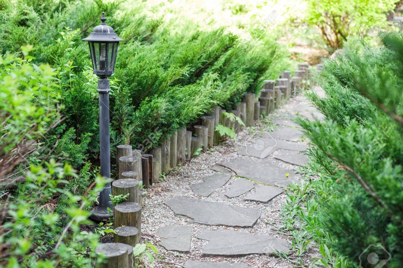 Belle conception de paysage, chemin tuiles de jardin closeup lumière parc,  clôture en bois, des buissons à feuilles persistantes et les arbustes à la  ...