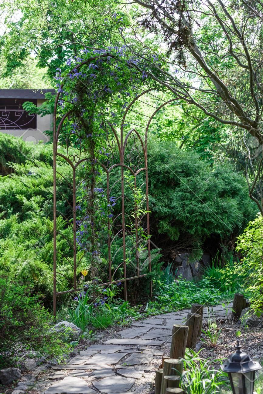 Belle conception de paysage, chemin de jardin avec l\'éclairage public, la  clôture en bois et l\'arc métallique, buissons à feuilles persistantes et  les ...