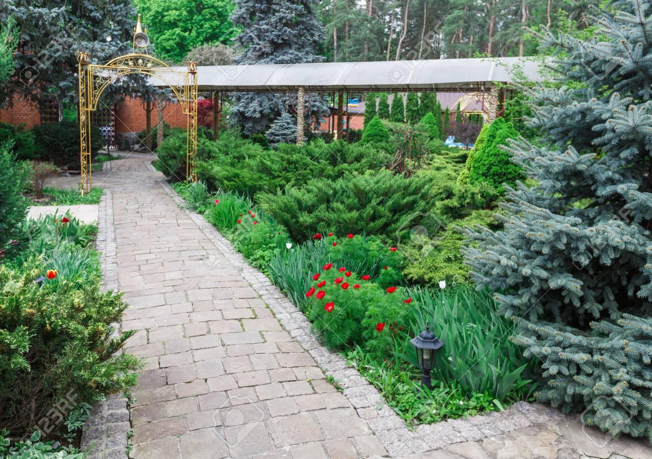 Mooi landschap ontwerp tuinpad met stenen tegels groenblijvende