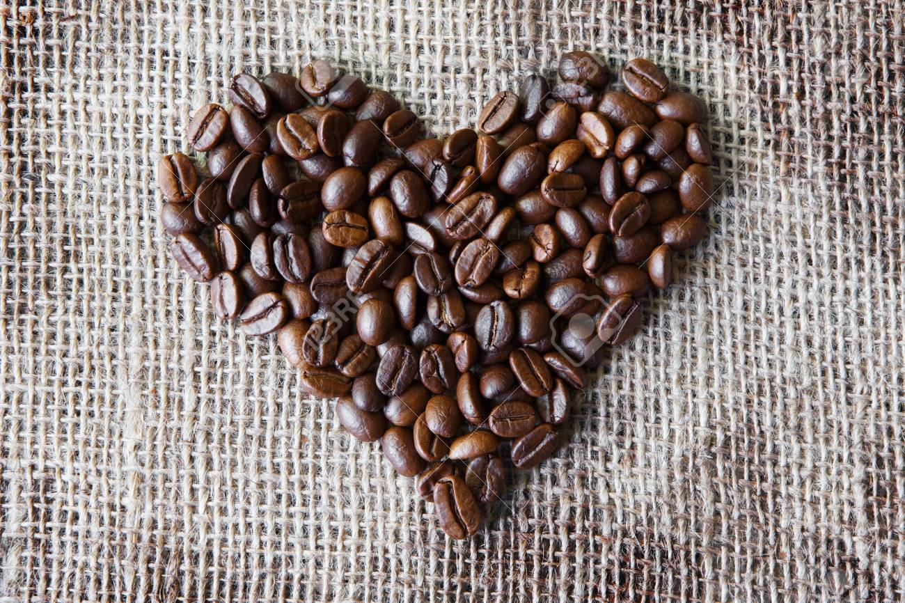 Burlap Texture With Coffee Beans Heart Shape Background Love