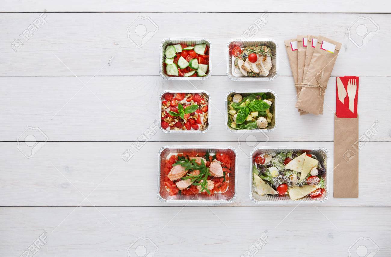 Healthy Food Delivery Take Away Of Natural Organic Low Carb Stock