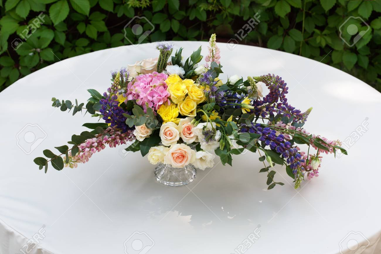 Beautiful Flower Composition Outdoors Wedding Floristic Decoration