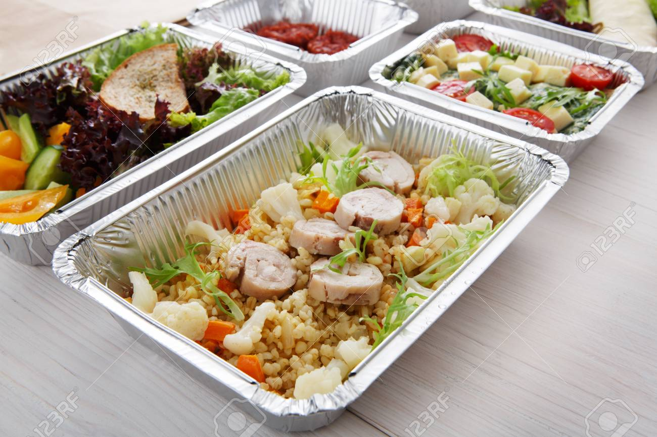 Healthy Food Delivery And Diet Concept Take Away Of Fitness Stock
