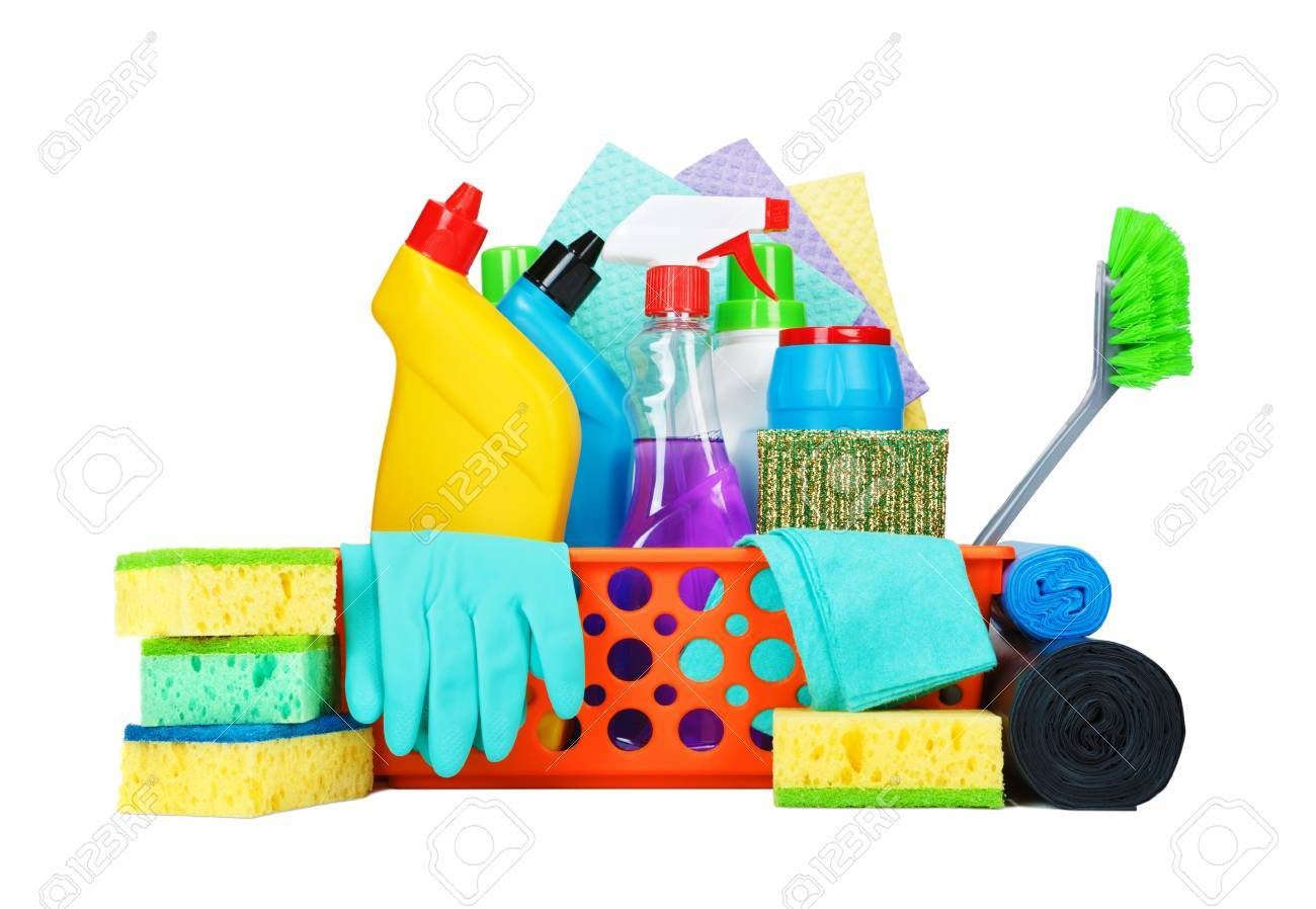 big sale 01654 4a80f Cleaning supplies in a basket - housekeeping concept. Liquid chemical  washers, brushes, sponges