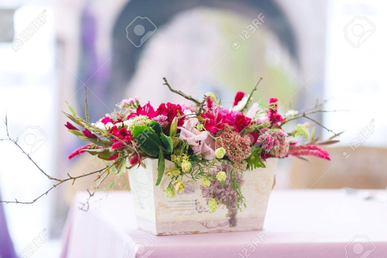 Beautiful Flowers Bouquets Decor In Vase. Wedding Decor In Pastel ...