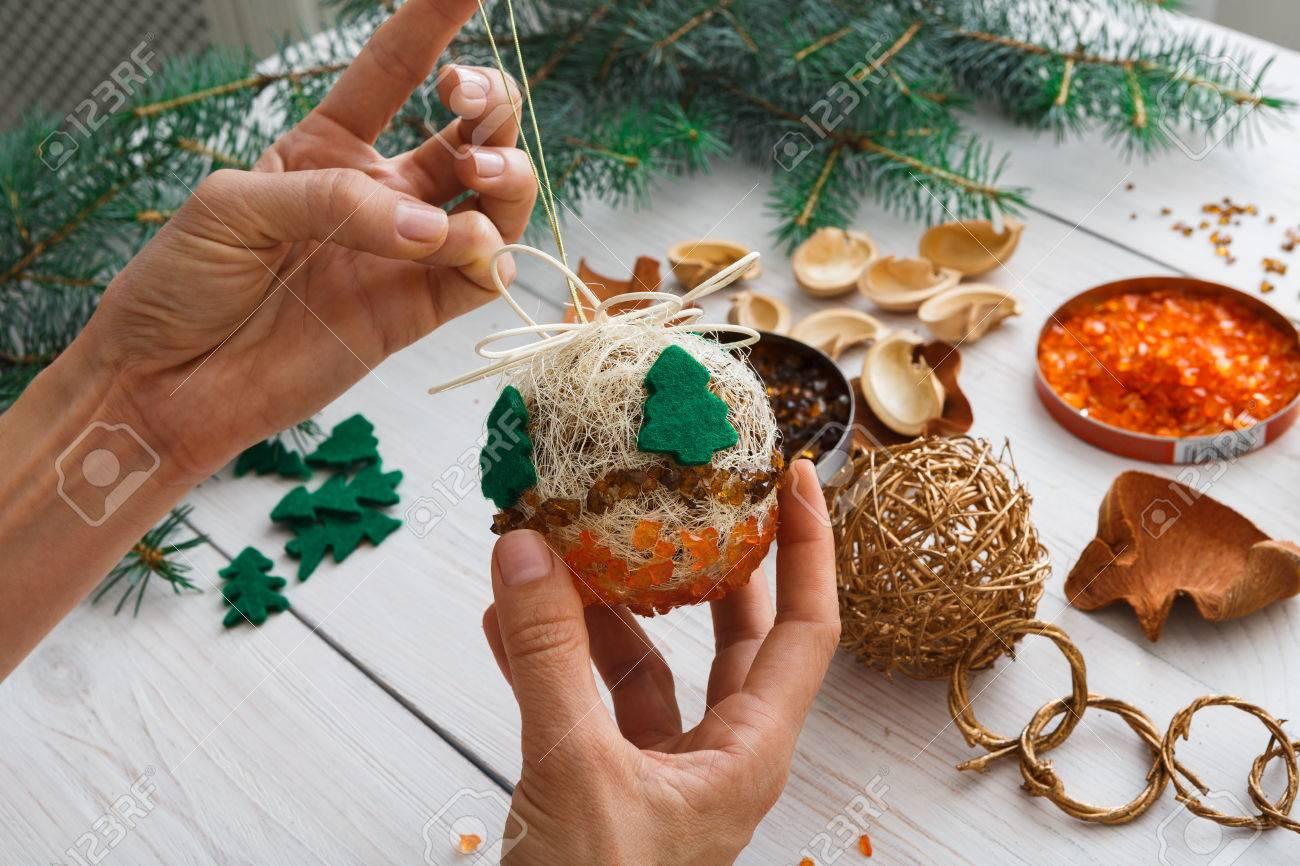 Children Christmas Tree Decorations.Creative Diy Craft Hobby Making Handmade Craft Christmas Ornaments