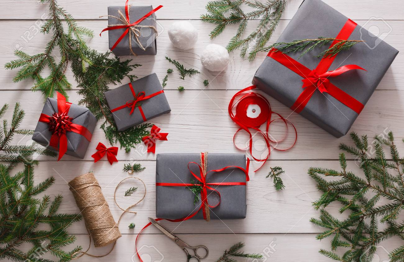 handmade tools for making modern christmas present boxes in stylish gray