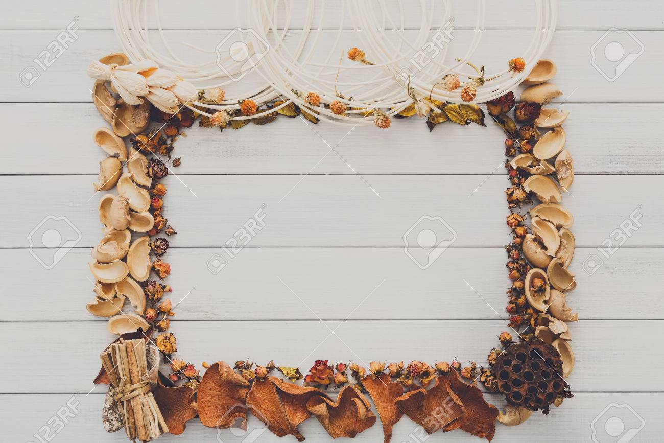 Fall Decoration Handmade Frame Concept Background, Top View With ...