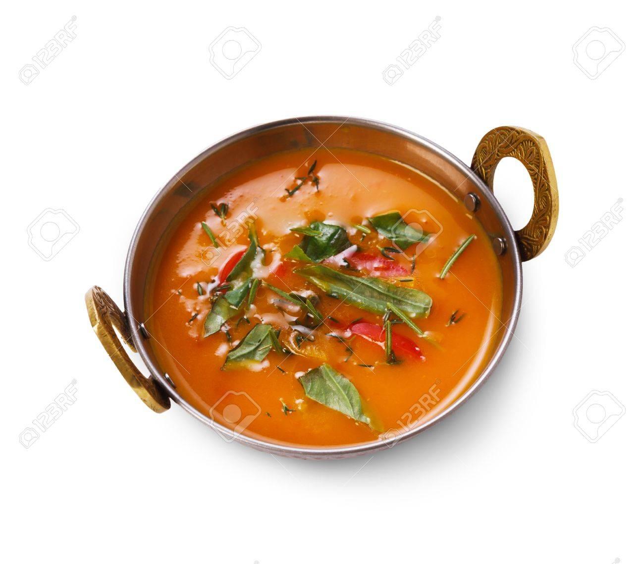 Vegan Und Vegetarisches Gericht, Würzige Suppe Schüssel Cremig ...