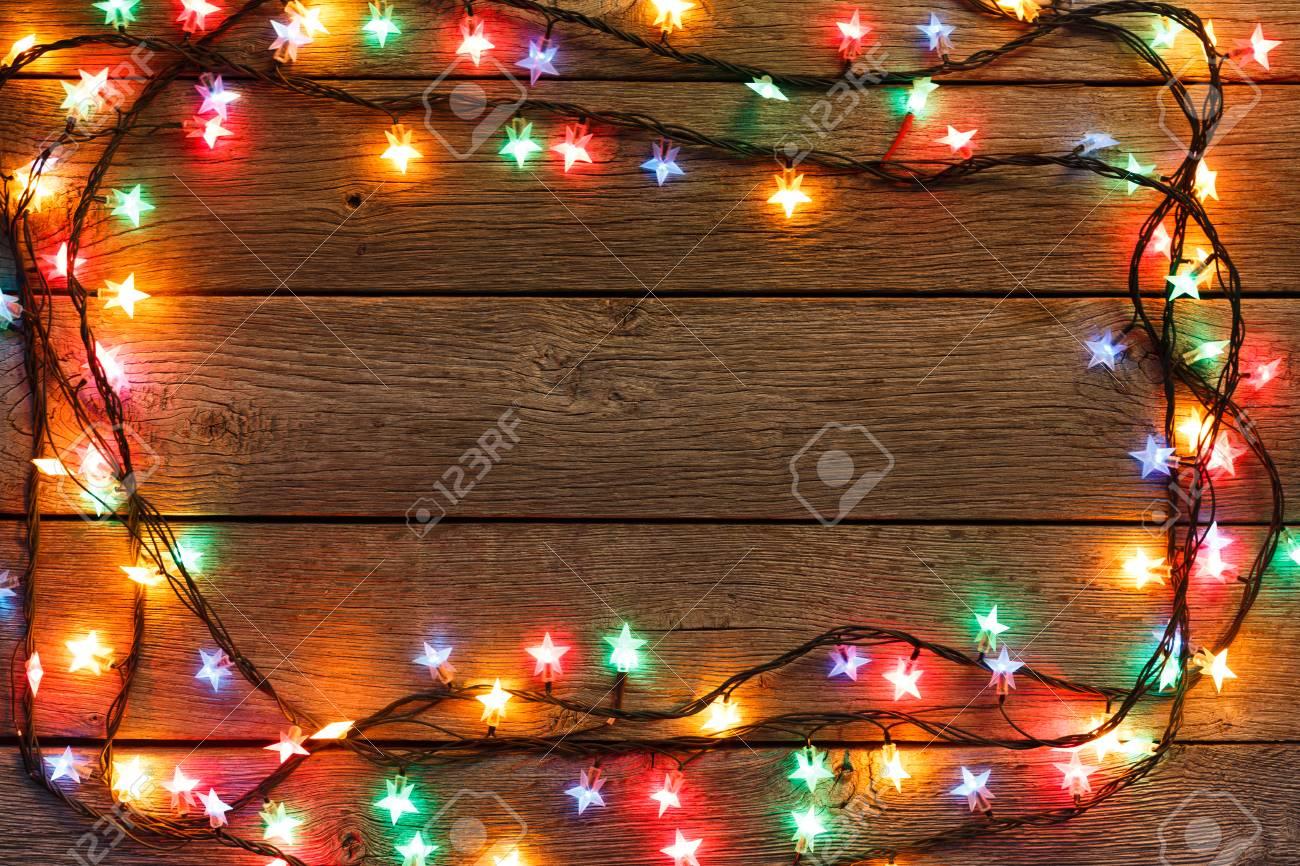 Christmas Lights Background.Christmas Lights Background Holiday Shiny Garland Frame Top