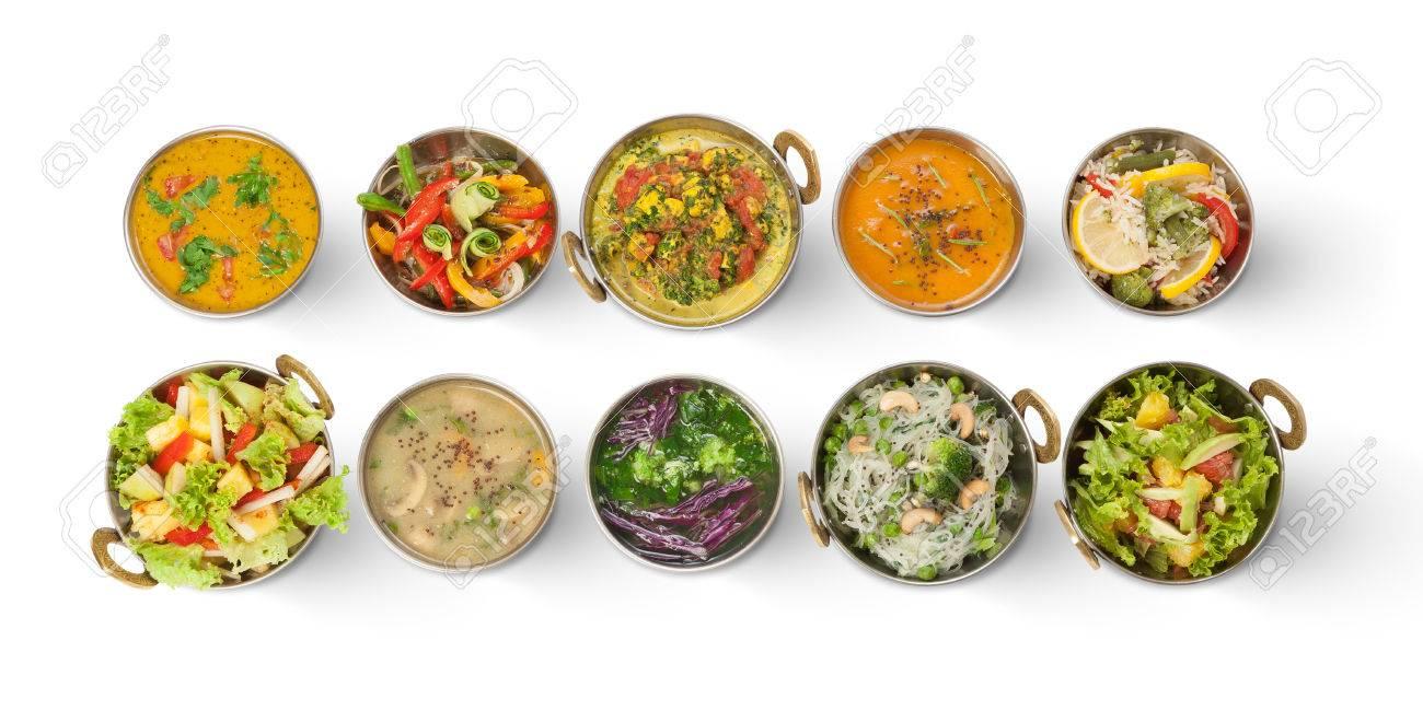 Veganes Oder Vegetarisches Restaurant Gerichte Draufsicht, Heiße ...