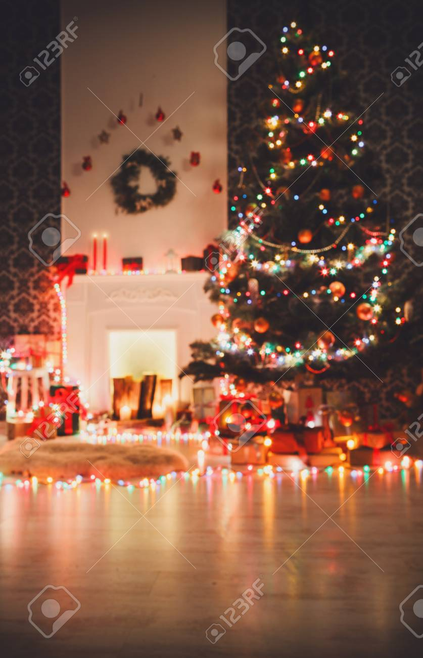 Christmas Living Room Decorations Fireplace Closeup Beautiful