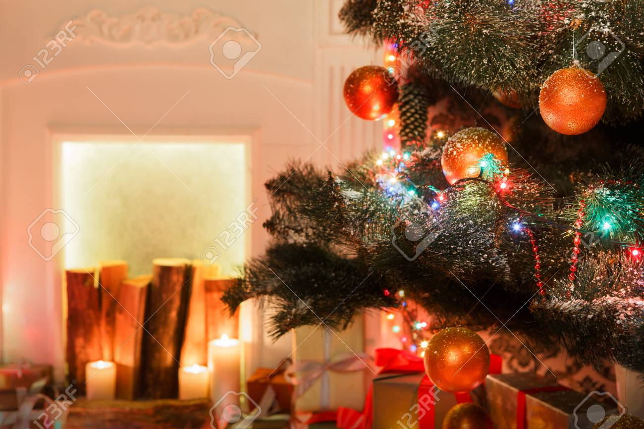 Christmas Living Room Decorations, Fireplace Closeup. Beautiful ...