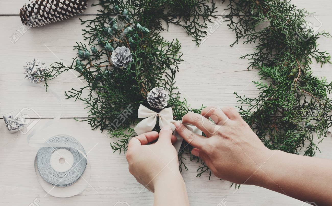 making handmade homemade christmas ornaments and fir tree garland womans - Making Homemade Christmas Decorations