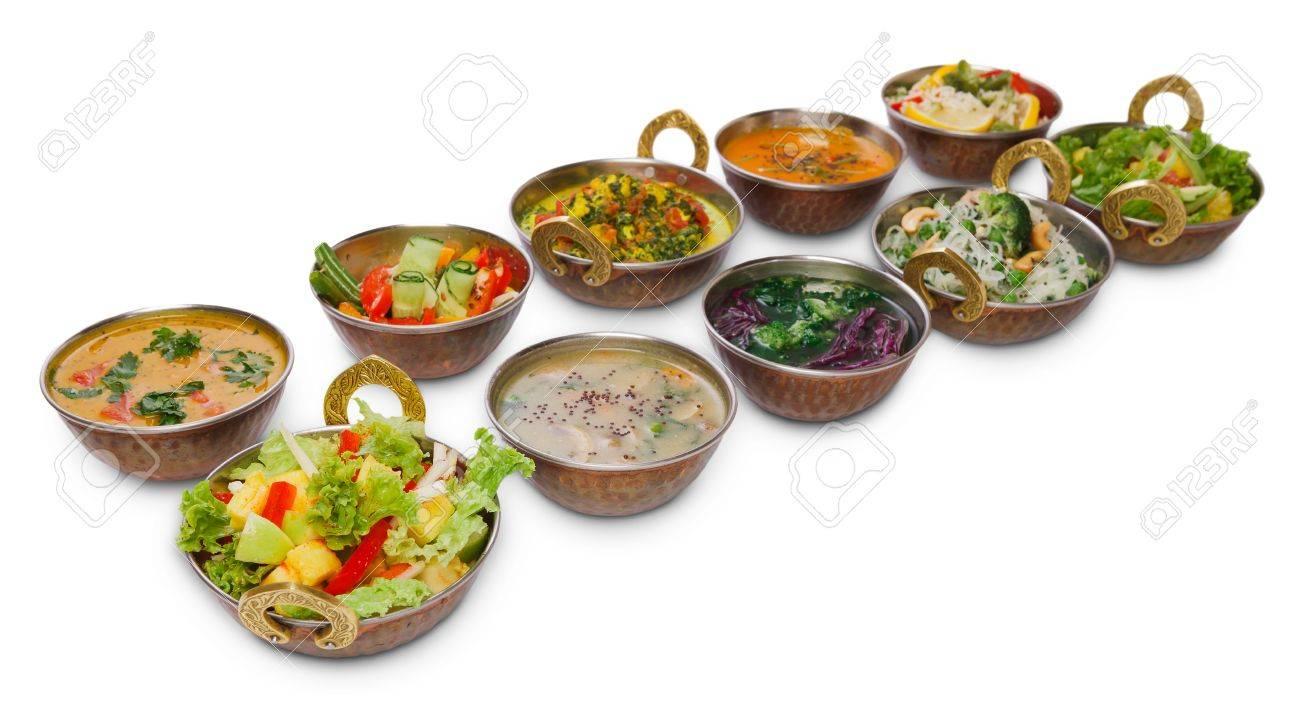 Vegan Oder Vegetarisches Restaurant Gerichte, Heiße Würzige Indische ...