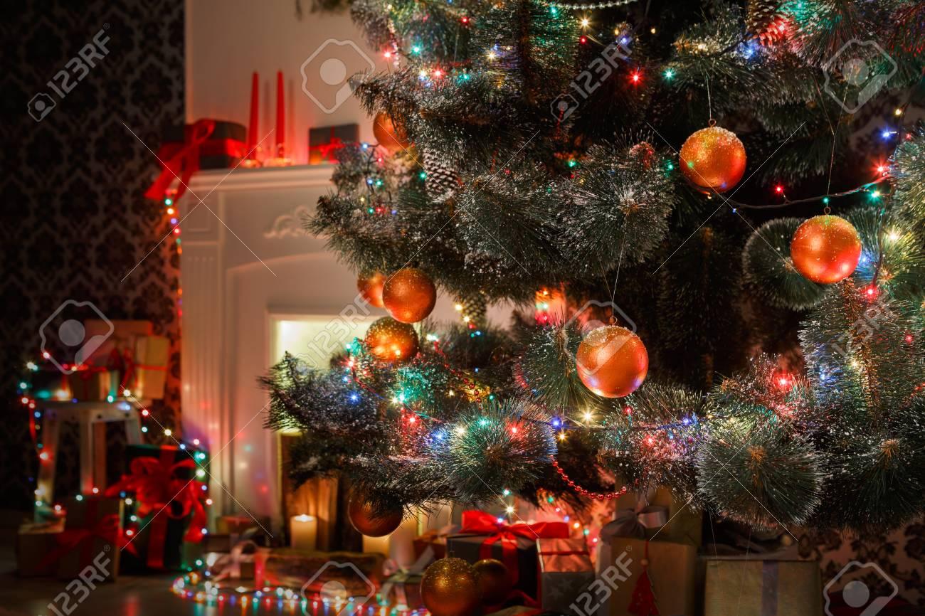 Christmas Magic Beautiful Decorated Xmas Tree Closeup In Modern Living Room Shining Lights