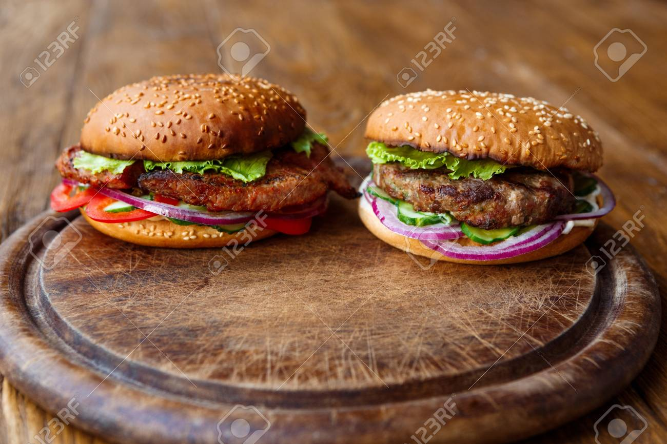 Classic American Fast Food Background Burgers With Grilled On