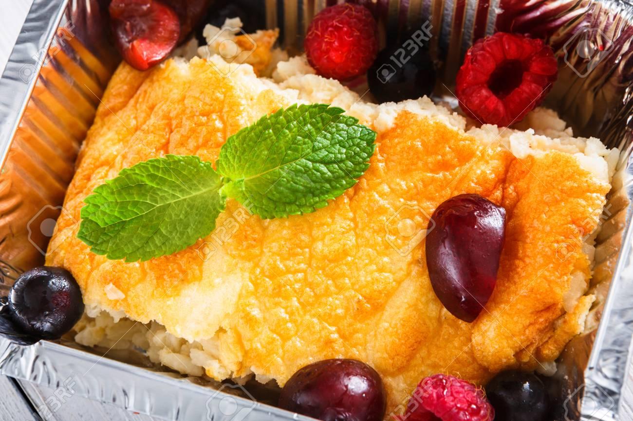 Gesunder Nachtisch Susser Gebackener Reispudding Mit