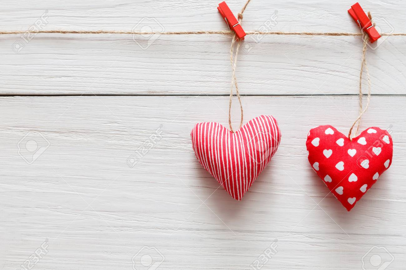 Valentine Background With Sewed Pillow Diy Handmade Hearts Couple