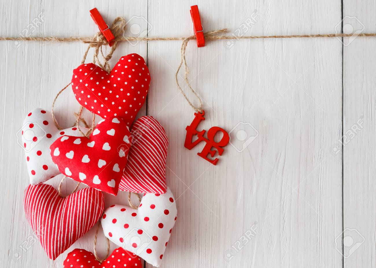 Valentine Background With Sewed Pillow Diy Handmade Hearts Bunch