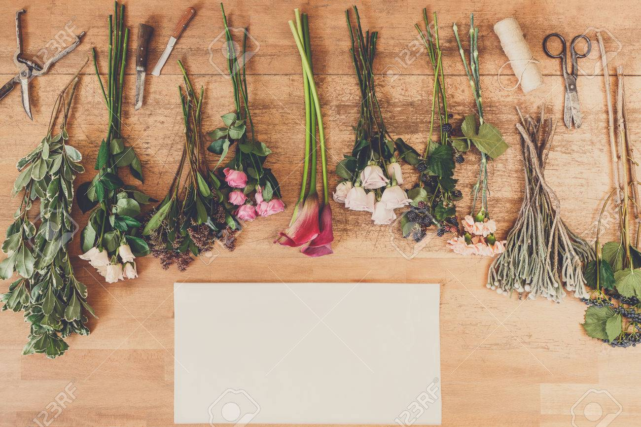 Flower Shop Delivery Background. Empty White Paper Sheet With ...