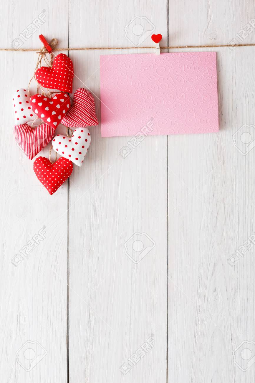 Valentine Background With Sewed Pillow Diy Handmade Hearts And