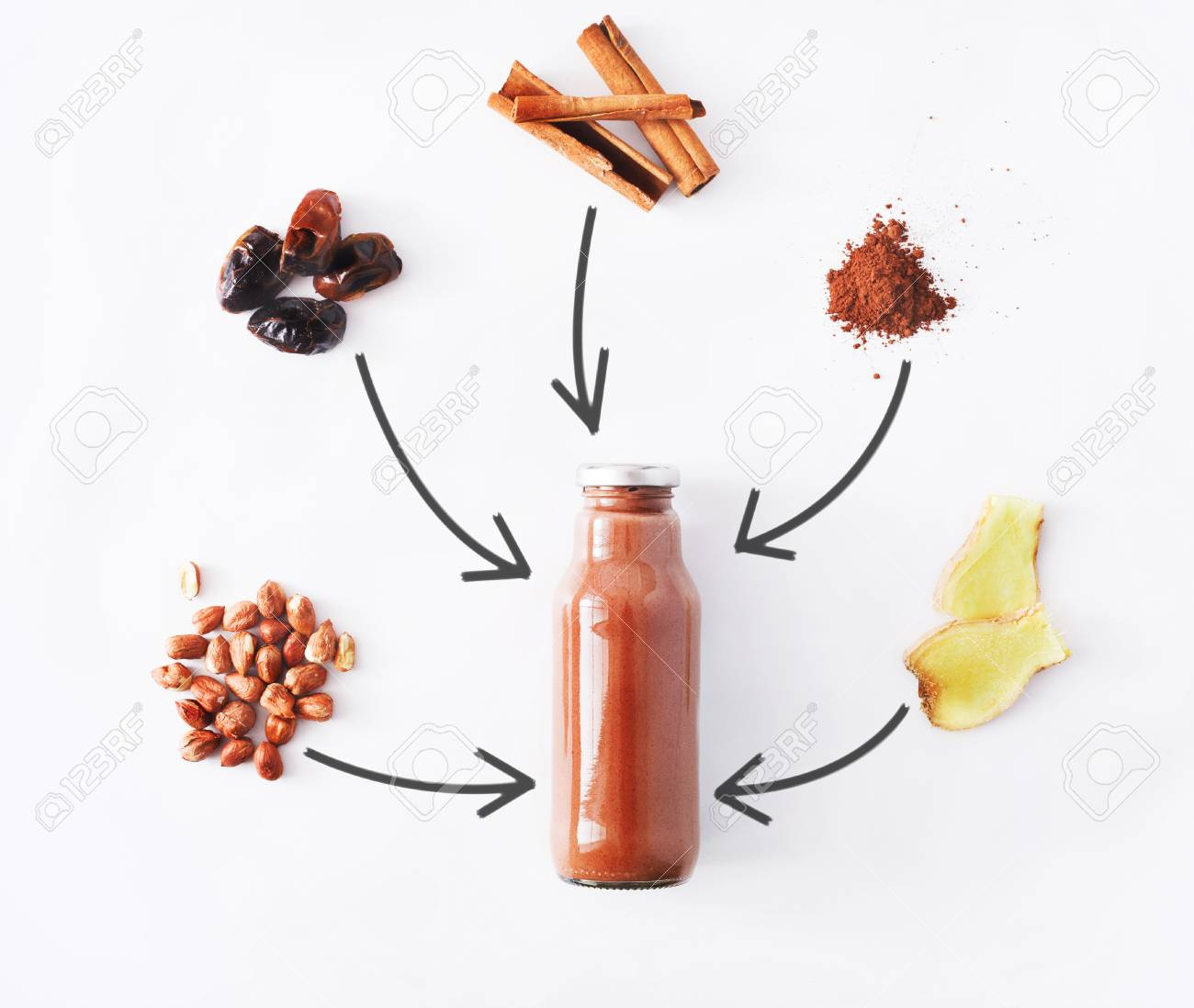 Detox Healthy Drink Concept Chocolate Smoothie Ingredients Stock