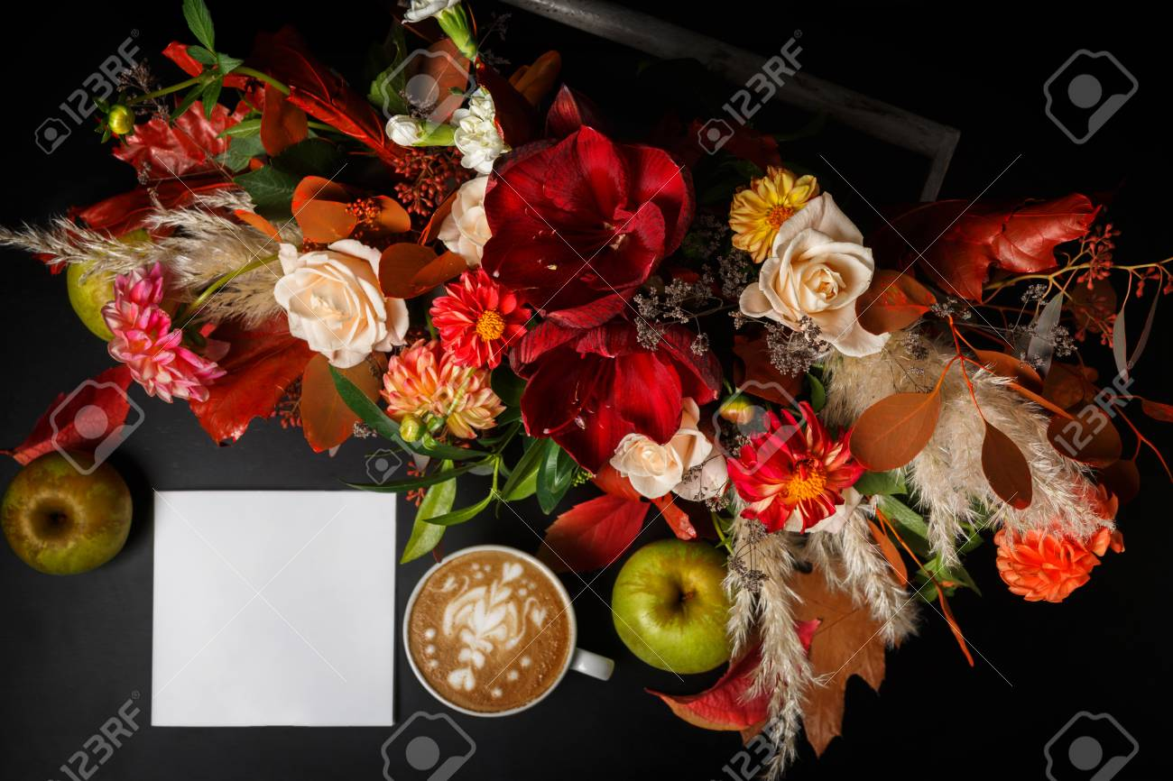 Cappuccino and beautiful flowers still life flower shop top stock cappuccino and beautiful flowers still life flower shop top view composition coffee cup izmirmasajfo