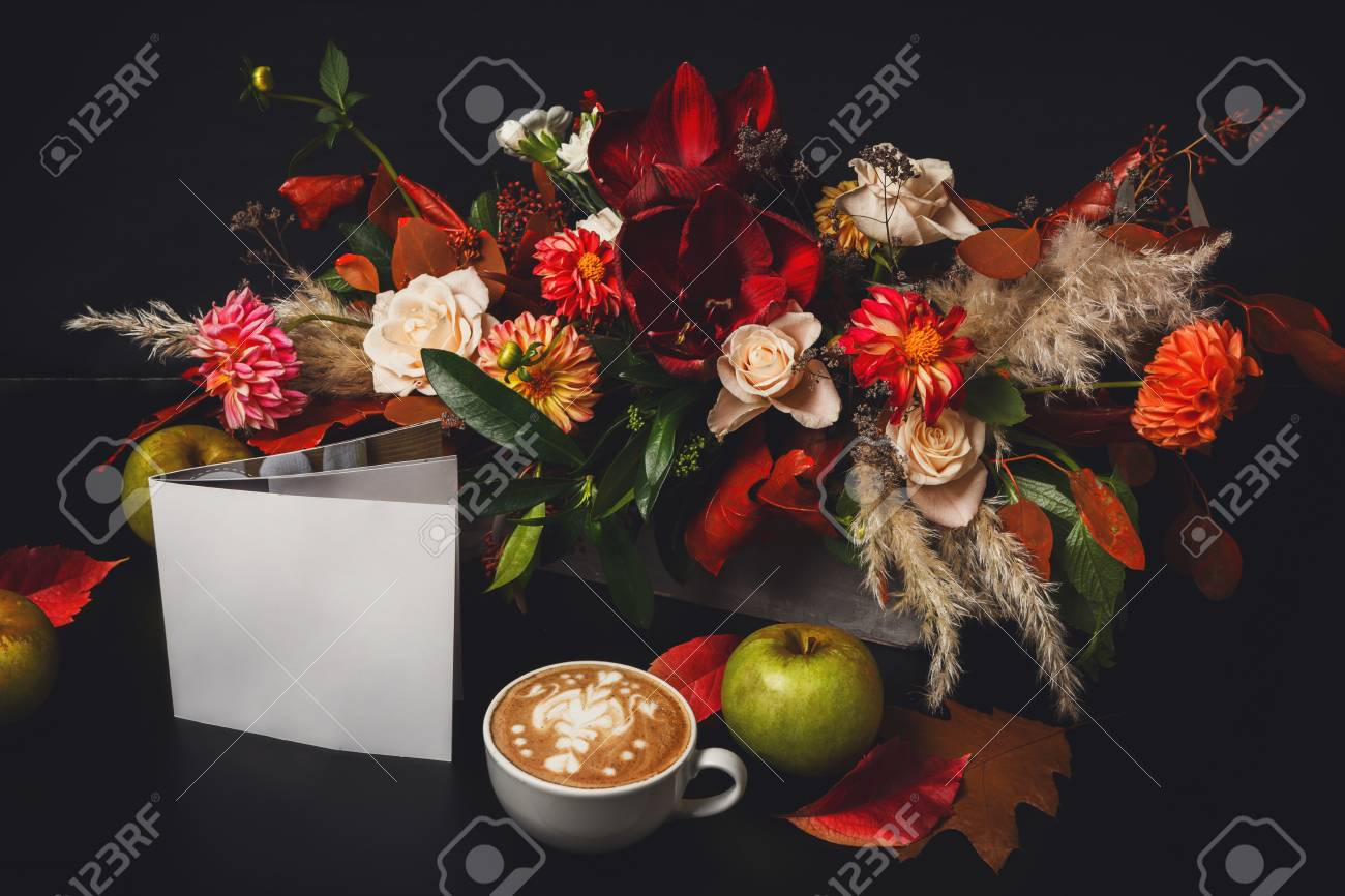 Cappuccino And Beautiful Flowers Composition Flower Shop