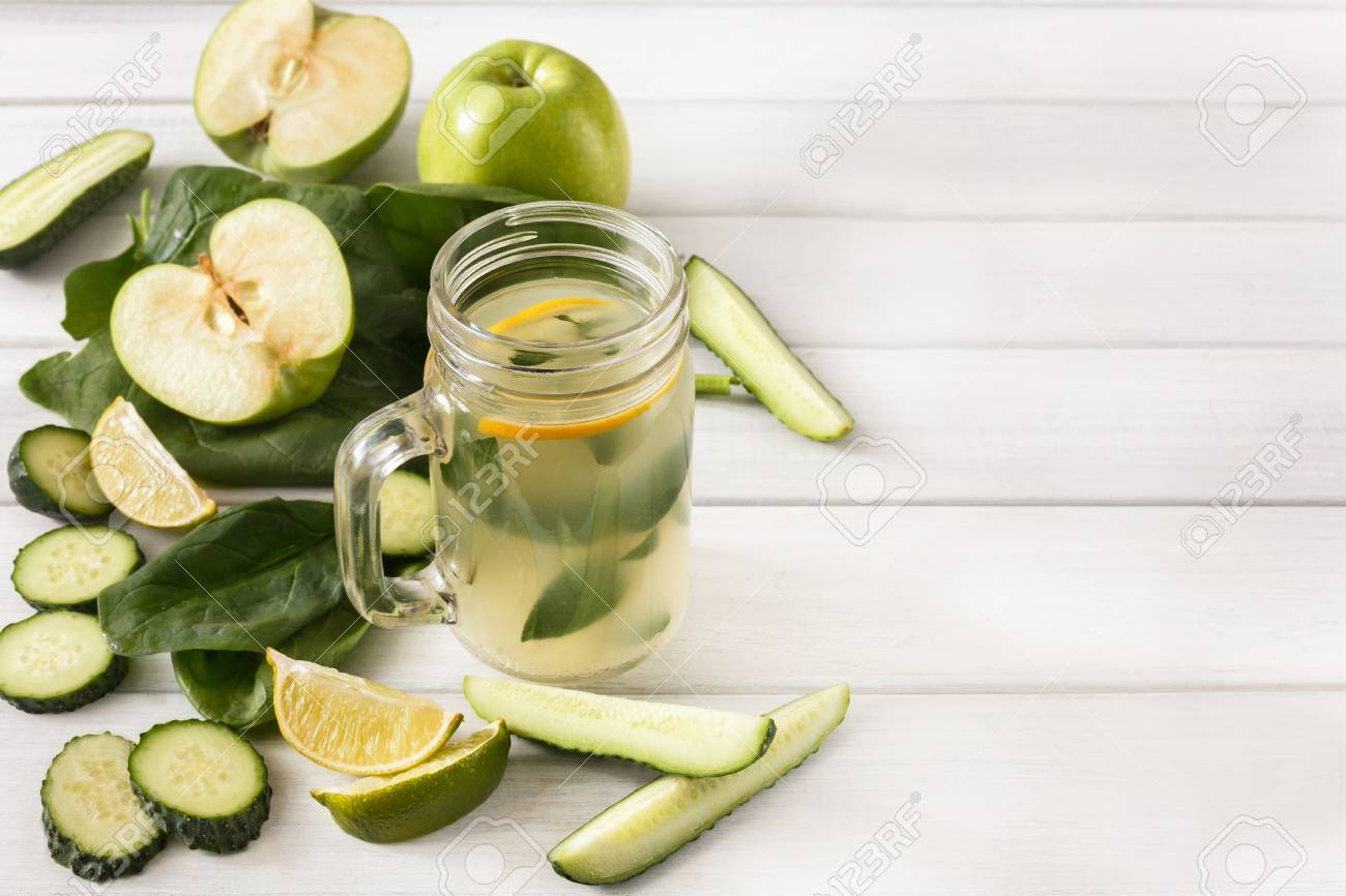 Detox cleanse drink background  Lemonade smoothie ingredients