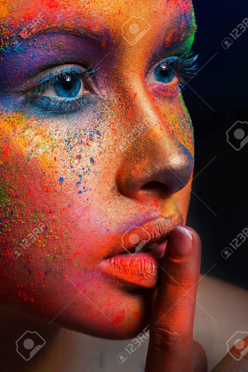 Fashion crop portrait of beauty model with colorful powder make