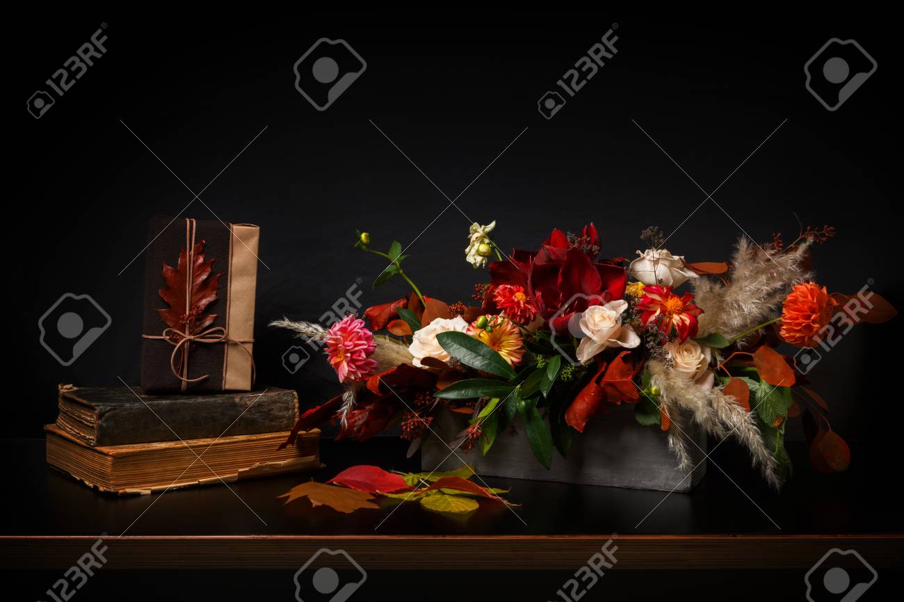Beautiful flowers still life flower shop composition bouquet beautiful flowers still life flower shop composition bouquet on black wood background florist art izmirmasajfo