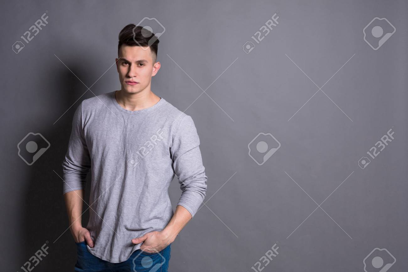 Young Handsome Man Studio Portrait Boy Style Trendy Hipster