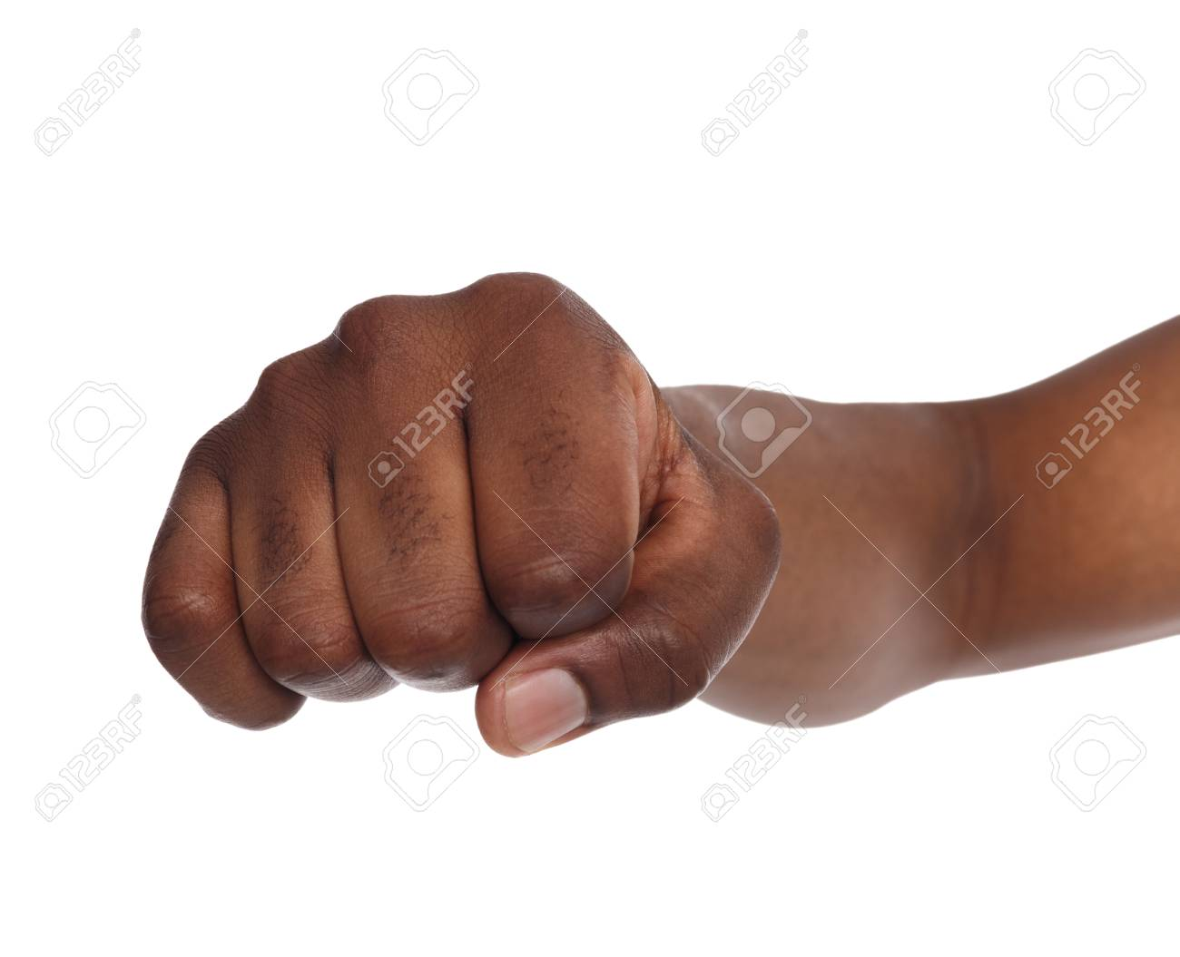 Fight Hand Gesture. Black Man Clenched Fist, Ready To Punch,.. Stock Photo,  Picture And Royalty Free Image. Image 78572418.