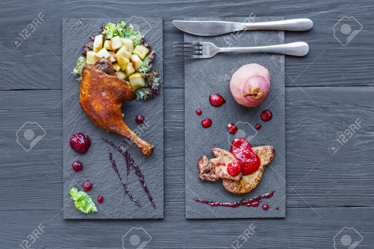 Roasted Duck Leg And Foie Gras Restaurant Food On Black Square Stock Photo Picture And Royalty Free Image Image 78852515