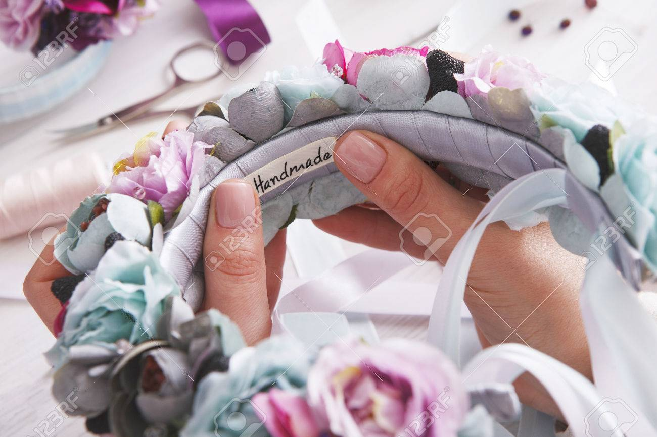 Handmade Headbands Making Home Workshop Unrecognizable Woman
