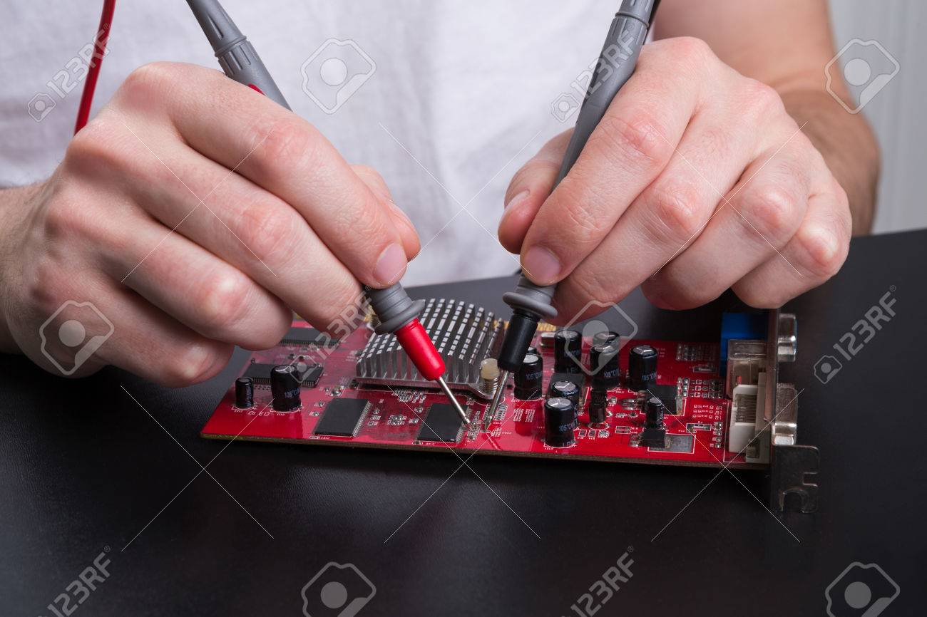 Electronic Circuit Red Board Inspecting Close Up Engineer Measuring Circuits Part 2 Computer Component Maintenance Support And