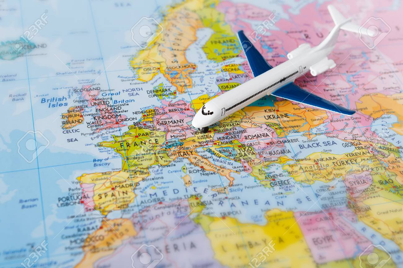 Travel To Europe By Plane Background Plane On Map Closeup Vacation