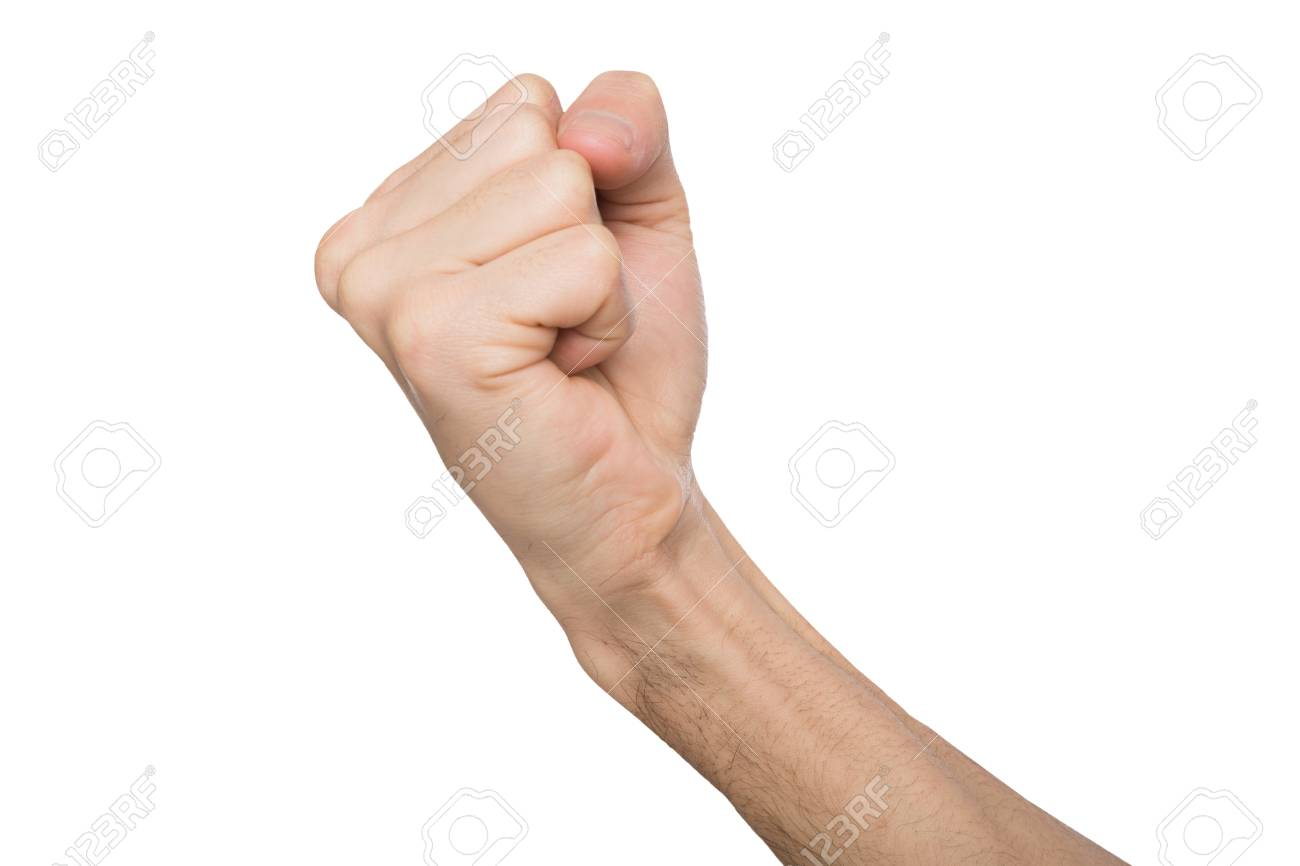 Fight hand gesture  Man clenched fist, ready to punch, isolated