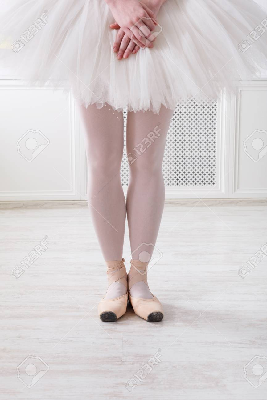 e358e0a40 Ballerina legs in sixth position on pointe, ballet dancer closeup..