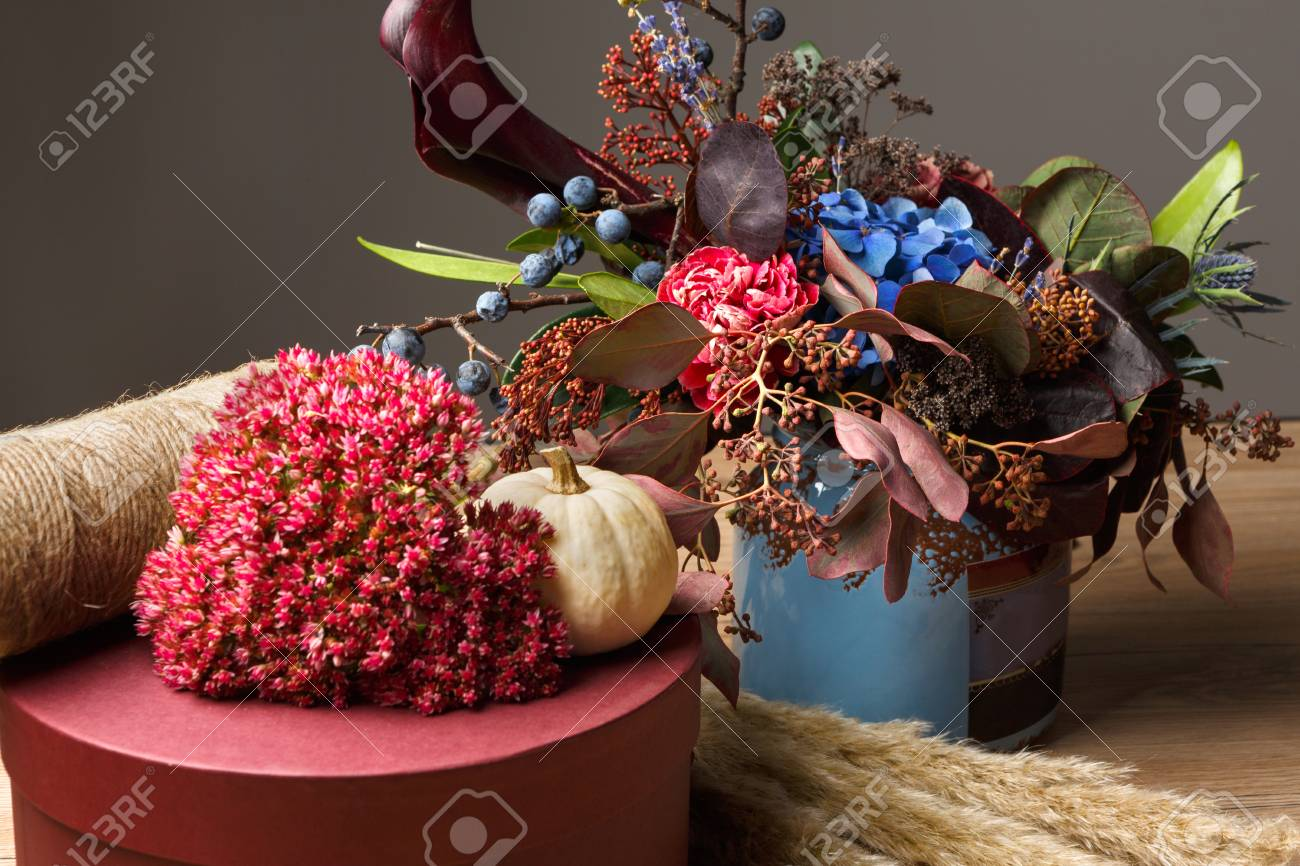 Fall Bouquet Holiday Background Floristic Composition Of Autumn