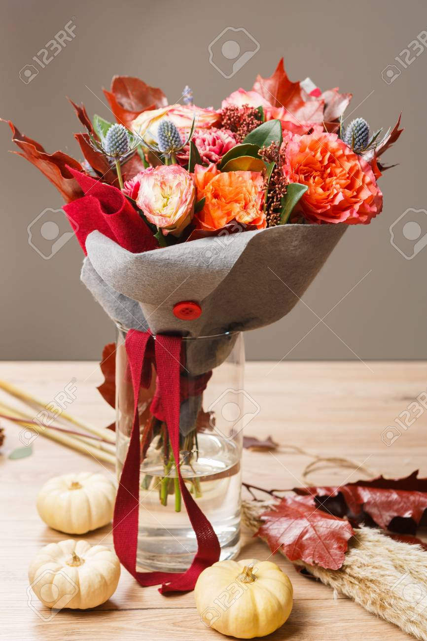 Beautiful Flowers Bouquet Background Flower Shop Composition
